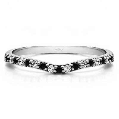 0.17 Ct. Black and White Delicate Contour Matching Wedding Ring