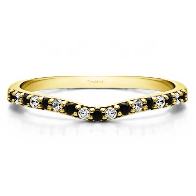 0.17 Ct. Black and White Delicate Contour Matching Wedding Ring in Yellow Gold