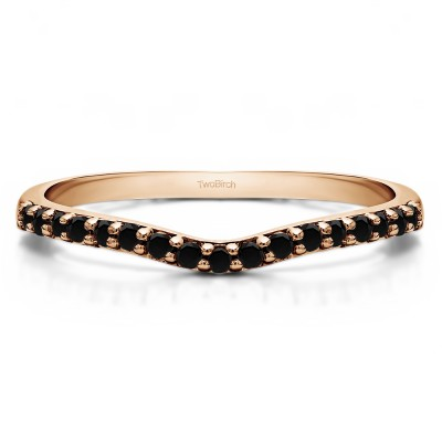 0.17 Ct. Black Delicate Contour Matching Wedding Ring in Rose Gold