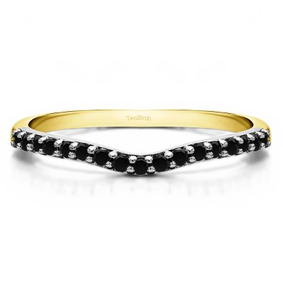 0.17 Ct. Black Delicate Contour Matching Wedding Ring in Two Tone Gold