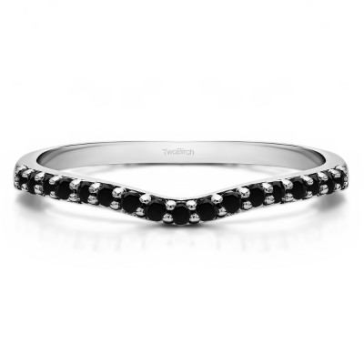 0.17 Ct. Black Delicate Contour Matching Wedding Ring