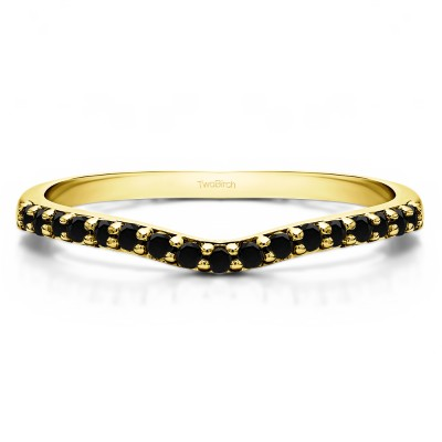 0.17 Ct. Black Delicate Contour Matching Wedding Ring in Yellow Gold