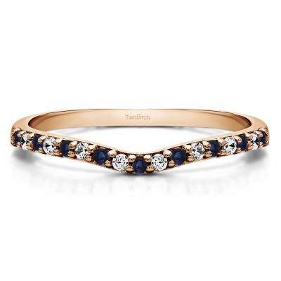 0.17 Ct. Sapphire and Diamond Delicate Contour Matching Wedding Ring in Rose Gold