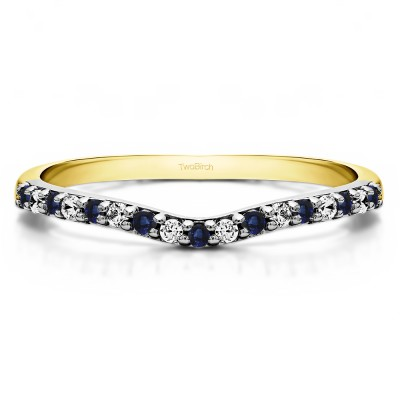0.17 Ct. Sapphire and Diamond Delicate Contour Matching Wedding Ring in Two Tone Gold