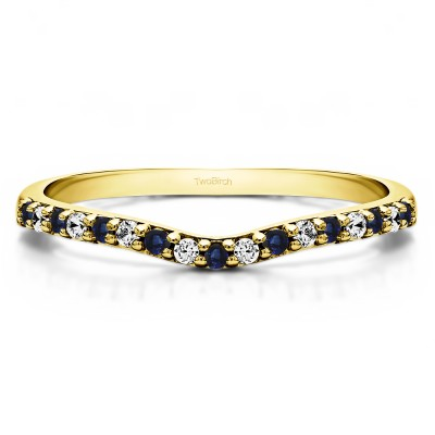 0.17 Ct. Sapphire and Diamond Delicate Contour Matching Wedding Ring in Yellow Gold