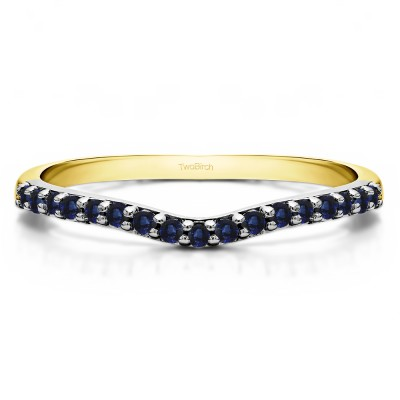 0.17 Ct. Sapphire Delicate Contour Matching Wedding Ring in Two Tone Gold