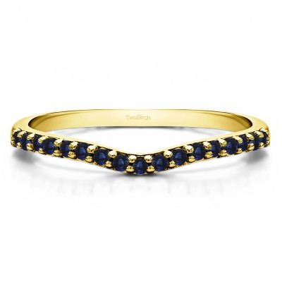 0.17 Ct. Sapphire Delicate Contour Matching Wedding Ring in Yellow Gold