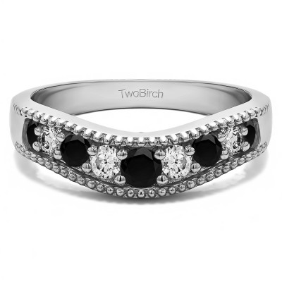 0.25 Ct. Black and White Wde Vintage Millgrained Contour Wedding Ring