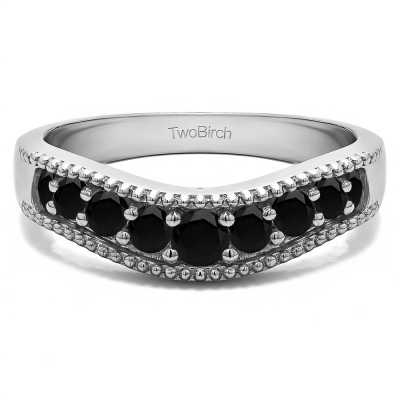 0.25 Ct. Black Wde Vintage Millgrained Contour Wedding Ring