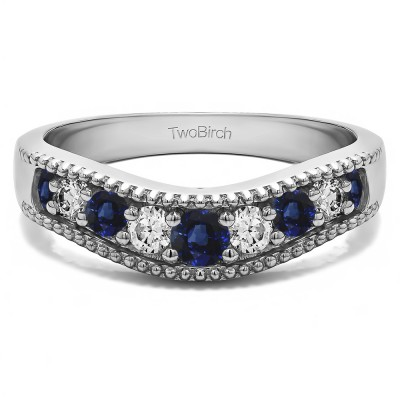 0.25 Ct. Sapphire and Diamond Wde Vintage Millgrained Contour Wedding Ring