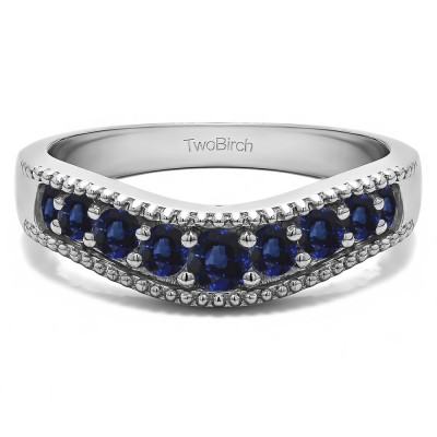 0.25 Ct. Sapphire Wde Vintage Millgrained Contour Wedding Ring
