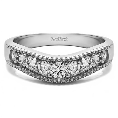 0.5 Ct. Wde Vintage Millgrained Contour Wedding Ring