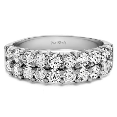 1 Carat Double Row Double Shared Prong Wedding Ring