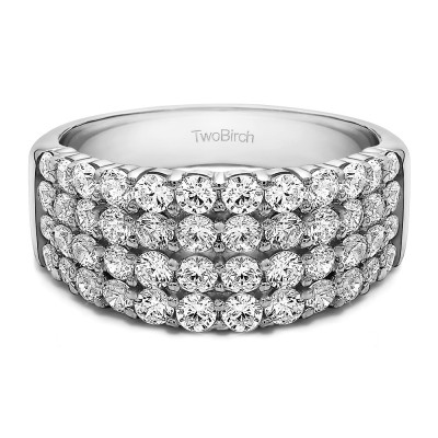 2.04 Carat Four Row Wide Domed Anniversary Ring