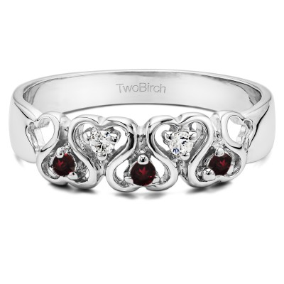 0.125 Carat Infinite Love Ring set with Synthetic Ruby and Diamonds in Sterling Silver