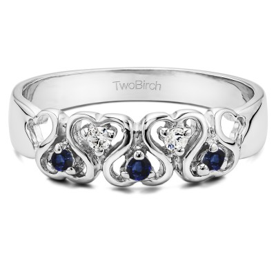 0.125 Carat Infinite Love Ring With Synthetic Sapphire And Diamonds Mounted in Sterling Silver (Size 7)