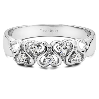 0.125 Carat Infinite Love Ring With Cubic Zirconia Mounted in Sterling Silver (Size 7)