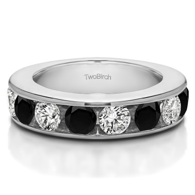 1 Carat Black and White 10 Stone Open Ended Channel Set Wedding Ring