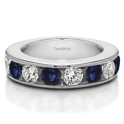 1 Carat Sapphire and Diamond 10 Stone Open Ended Channel Set Wedding Ring