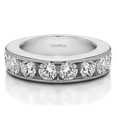 1.5 Carat 10 Stone Open Ended Channel Set Wedding Ring
