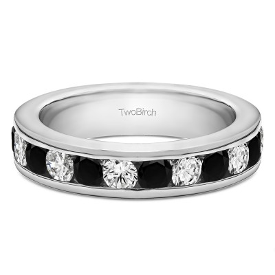 0.5 Carat Black and White Twelve Stone Channel Set Straight Wedding Ring