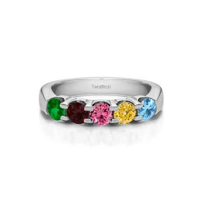 Genuine Birthstone Five Stone Shared Prong Pinched Shank Wedding Band(0.5 Carat)