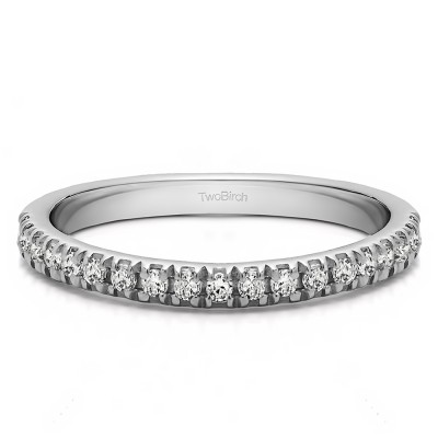 0.2 Carat Twenty Stone Domed French Cut Pave Set Wedding Ring With Cubic Zirconia Mounted in Sterling Silver (Size 8)