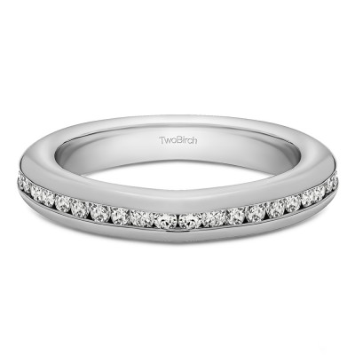0.2 Carat Twenty Stone Thin Channel Set Wedding Ring With Cubic Zirconia Mounted in Sterling Silver (Size 6.5)