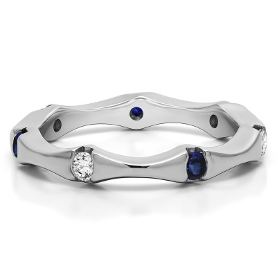 0.25 Carat Sapphire and Diamond Stackable Eternity Band