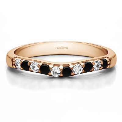 0.25 Ct. Black and White Ten Stone Curved Prong Set Wedding Ring in Rose Gold