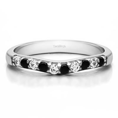 0.25 Ct. Black and White Ten Stone Curved Prong Set Wedding Ring