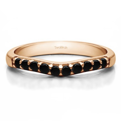 0.25 Ct. Black Ten Stone Curved Prong Set Wedding Ring in Rose Gold
