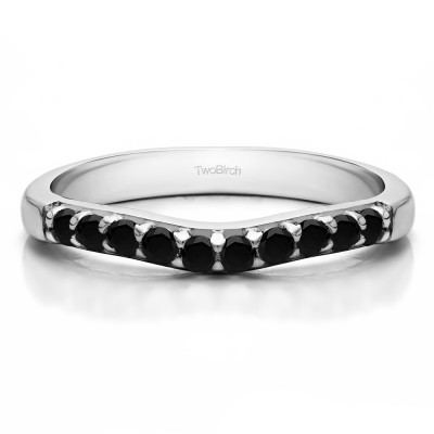 0.25 Ct. Black Ten Stone Curved Prong Set Wedding Ring