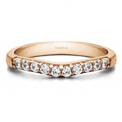 0.25 Ct. Ten Stone Curved Prong Set Wedding Ring in Rose Gold