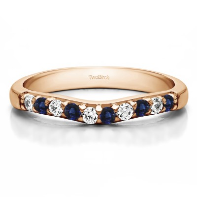 0.25 Ct. Sapphire and Diamond Ten Stone Curved Prong Set Wedding Ring in Rose Gold
