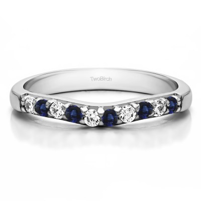 0.25 Ct. Sapphire and Diamond Ten Stone Curved Prong Set Wedding Ring