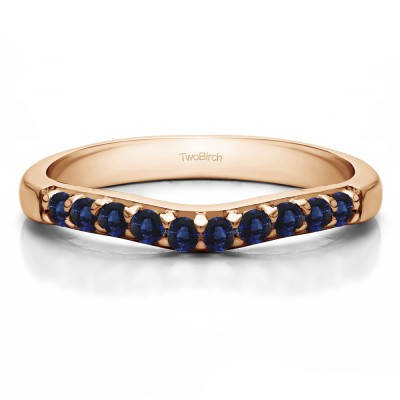 0.25 Ct. Sapphire Ten Stone Curved Prong Set Wedding Ring in Rose Gold