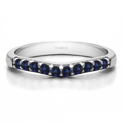 0.25 Ct. Sapphire Ten Stone Curved Prong Set Wedding Ring