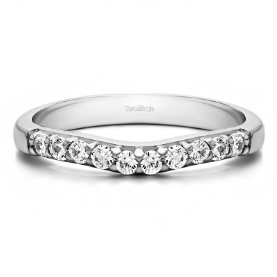 0.25 Ct. Ten Stone Curved Prong Set Wedding Ring