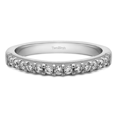 0.3 Carat Common Prong Thirteen Stone Wedding Ring With Cubic Zirconia Mounted in Sterling Silver (Size 7)