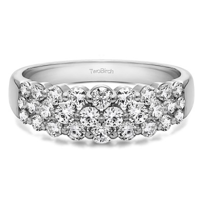 0.99 Carat Three Row Common Prong Wedding Ring