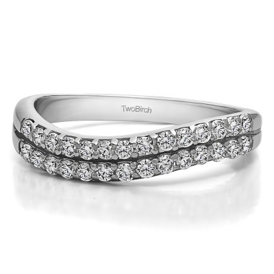 0.3 Carat Pave Set Double Row Wave Wedding Ring