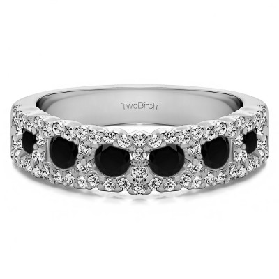 0.84 Carat Black and White Alternating Small and Large Round Wedding Ring