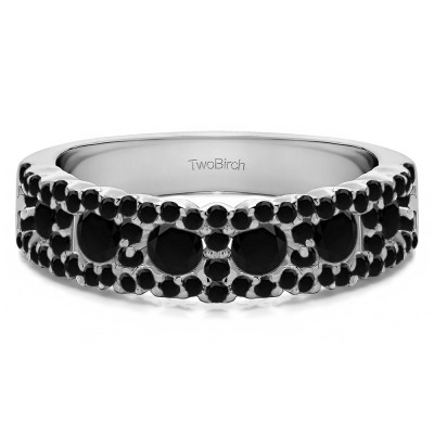 0.84 Carat Black Alternating Small and Large Round Wedding Ring