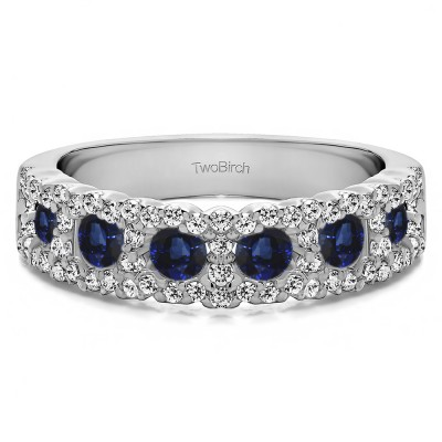 0.84 Carat Sapphire and Diamond Alternating Small and Large Round Wedding Ring
