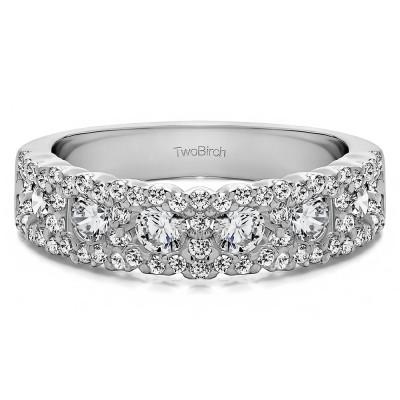 0.84 Carat Alternating Small and Large Round Wedding Ring