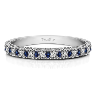 0.34 Carat Sapphire and Diamond Milgrained Pave Set Vintage Wedding Ring