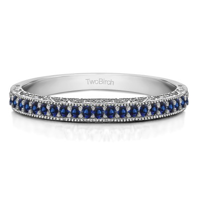 0.34 Carat Sapphire Milgrained Pave Set Vintage Wedding Ring