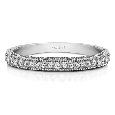0.34 Carat Milgrained Pave Set Vintage Wedding Ring With Cubic Zirconia Mounted in Sterling Silver (Size 11)