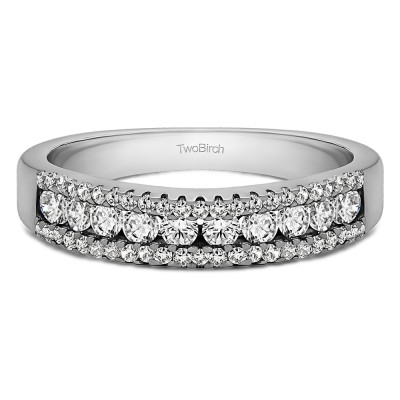 0.6 Carat Three Row Recessed Center Wedding Ring